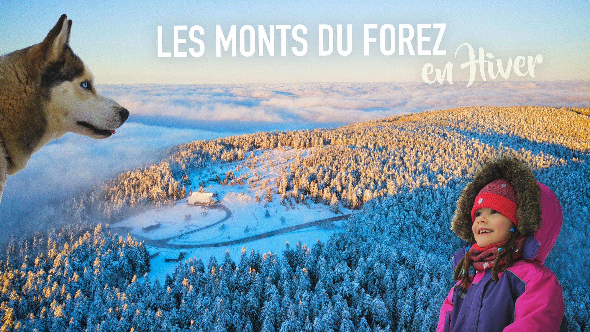 Les monts du Forez en famille, en hiver