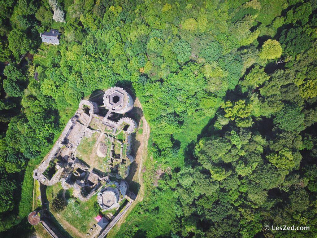Le château de Tonquédec, vu du ciel