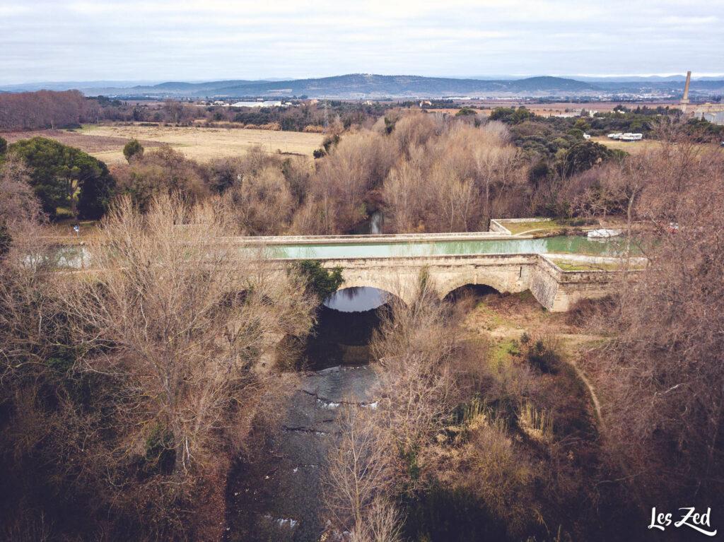 Le Pont-Canal de la Cesse vue du ciel